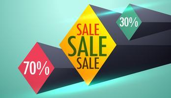 verkoop en kortingsbon ontwerp met 3D-vormen