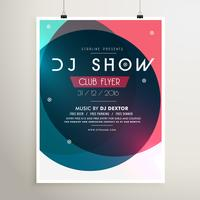 awesome music party event flyer template with colorful shapes