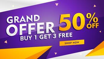 Grand erbjudande försäljning och rabatt banner mall för marknadsföring