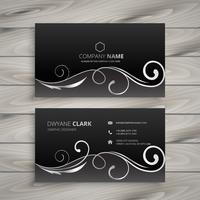 floral dark business card. Business vector design illustration