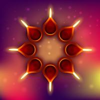diwali diya op kleurrijke achtergrond
