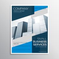 Diseño de plantilla de diseño de folleto azul con sha geométrico abstracto