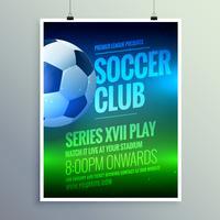 Plantilla de la invitación del diseño del aviador del folleto del club de fútbol