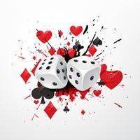 abstrakt tärning bakgrund med splatter och spelkort symboler