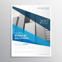 clean geometric blue brochure template design for annual report