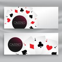conjunto de banners de cassino com cartas de baralho