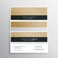 Diseño de tarjeta de visita con patrón circular.