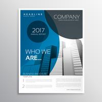 blue business brochure cover page template design with curve sha