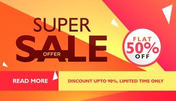super verkoopaanbieding sjabloon voor reclame met geometrische colorfu