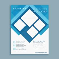 stylish blue brochure flyer design template with square shapes
