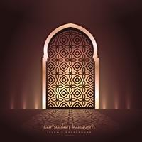 schöne Moscheentür mit Lichtern und Musterdesign