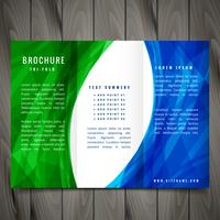 wave style trifold brochure design illustration