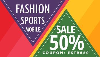 Banner publicitario colorido abstracto con detalles de oferta