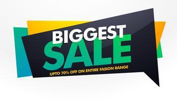 Banner de venta más grande, plantilla de cartel con oferta de descuento.