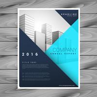Modelo minimalista moderno do folheto folheado em estilo geométrico azul