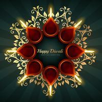 Diwali hälsning vektor bakgrundsdesign med blommiga ornament