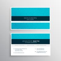 business card design in blue pattern shape