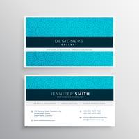 business card design in blue pattern shape