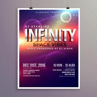 modello di volantino di musica di stile dell'universo dello spazio con la data dell'evento