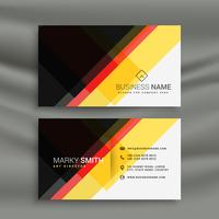 conception de carte de visite créative jaune rouge et noir