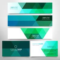 green low poly business stationary set
