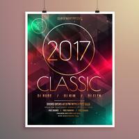 Partyereignis-Fliegerschablone des neuen Jahres 2017 mit buntem Lichtba