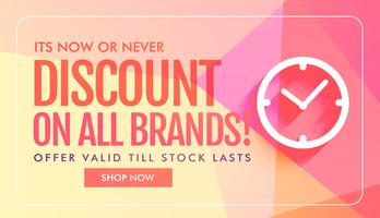 discount and sale banner design with clock icon