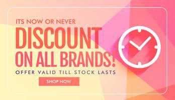 desconto e venda banner design com ícone de relógio