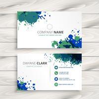 creative splatter business card. Business vector design illustra