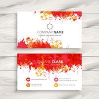 red ink splash business card template vector design illustration