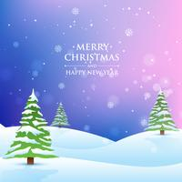 árbol de navidad en fondo nevado
