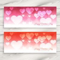 valentines day banners set vector design illustration
