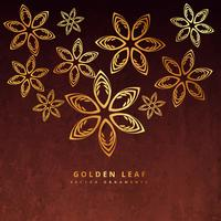 golden leaf design in rusty background