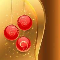 fondo dorado con bolas rojas de navidad
