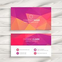 tarjeta de visita en la ilustración de diseño de vector de color rosa