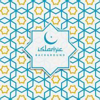 Fondo de patrón islámico en color azul y amarillo