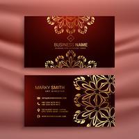 modello di biglietto da visita di lusso floreale dorato