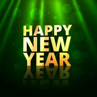 happy new year golden text in greeting bokeh background