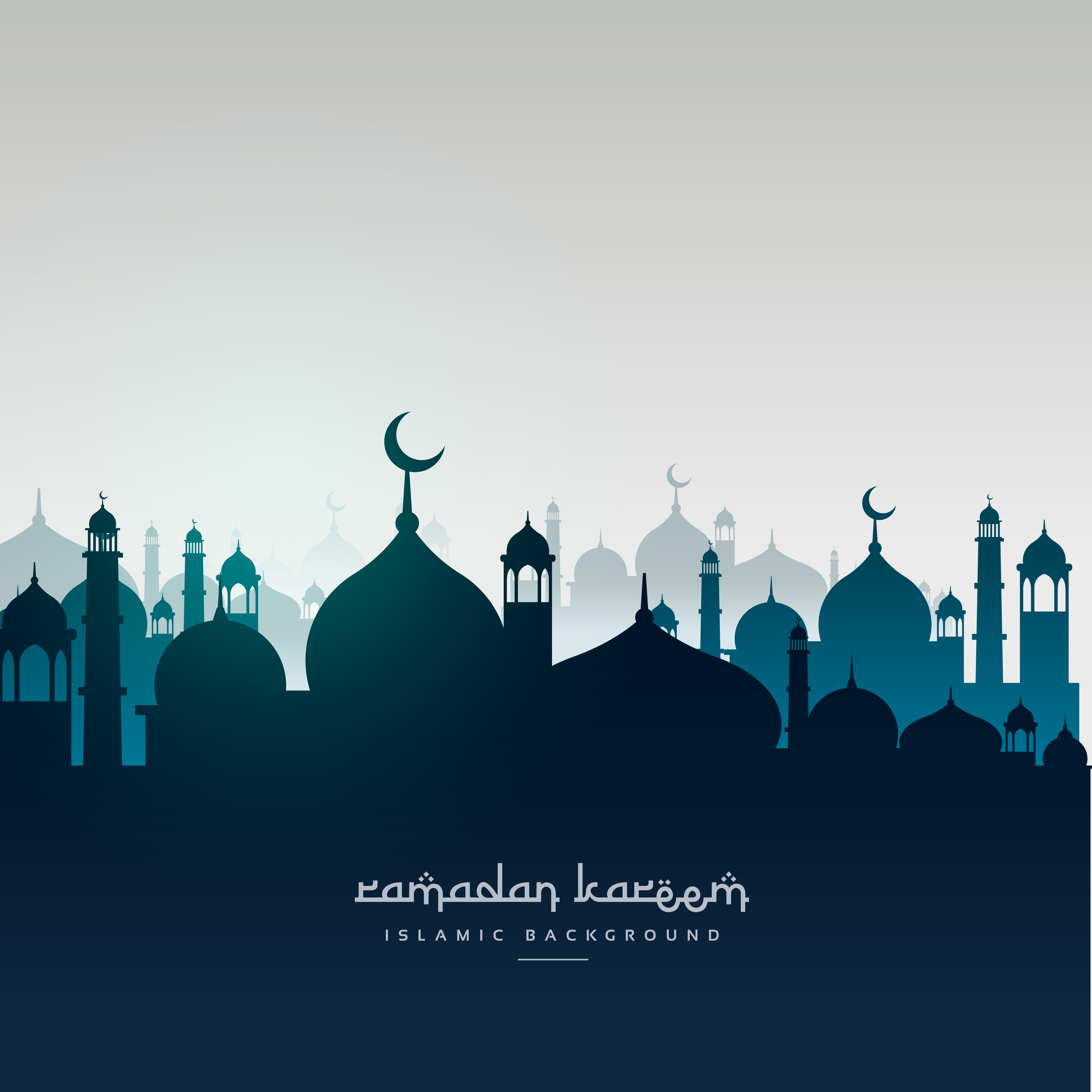 Ramadan Kareem Greeting Card With Mosques Download Free Vector Art