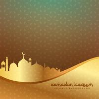 beautiful islamic background with golden mosque