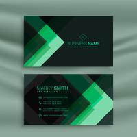 modelo de cartão de visita abstrato verde escuro tema