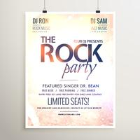 rock party music  flyer template with textured background
