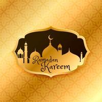 beautiful ramadan kareem greeting with golden mosque and pattern