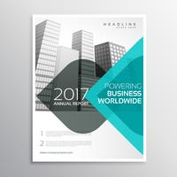 blue annual report business brochure with curve shapes