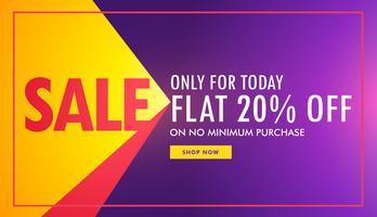 Banner creativo de venta en color morado y amarillo con oferta yd.
