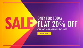 creative sale banner in purple and yellow color with offer and d