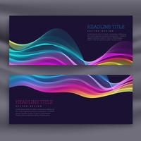 colorful set of two banners with wavy effect