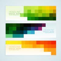 colorful mosaic tiles banners set