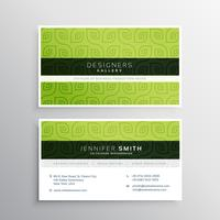 patrón verde limpio diseño de tarjeta de visita