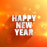 happy new year in orange bokeh background